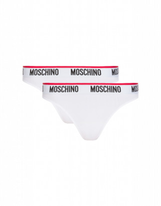 Moschino Set Of 2 Thong Panties With Logo Woman White Size 3 It - (8 Us)