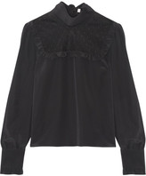 RED Valentino Point D'esprit-paneled Silk Crepe De Chine Blouse - Black