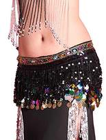 PanDaDa Chiffon Belly Dance Hip Scarf Coin Sequin Belt Skirt Tassel Hip Wrap