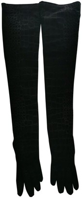 Saint Laurent Black Suede Gloves