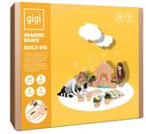 Gigi Bloks Jeu de construction en carton Construis et décore avec crayons de couleur - Set de 30 blocs Natural