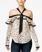 GUESS Printed Off-The-Shoulder Ruffled Top