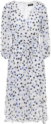 DKNY Wrap-effect Polka-dot Georgette Dress