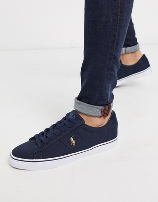 Polo Ralph Lauren sayer canvas sneaker with multi polo player in navy
