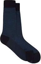 Barneys New York Men's Houndstooth Cotton Mid-Calf Socks