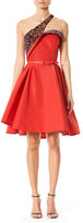Carolina Herrera Leopard-Print One-Shoulder Cocktail Dress, Red