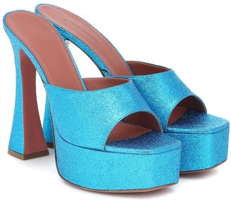 Amina Muaddi Exclusive to Mytheresa Dalida glitter platform sandals