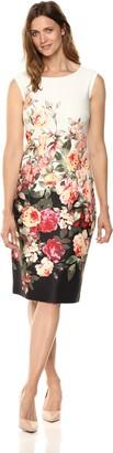 SL Fashions Women's Floral-Printed Border Sheath Dress