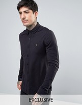 Farah Pique Jersey Shirt Exclusive In Black