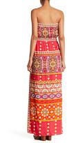 Hale Bob Strapless Print Maxi Dress