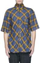 Junwei Lin Tie collar tartan plaid short sleeve shirt