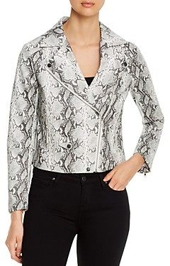 Cupcakes And Cashmere Beatrix Printed Faux-Leather Moto Jacket