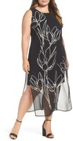 Vince Camuto Plus Size Women's Fluent Cluster Overlay Shift Dress