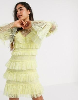 By Malina Rosa layered lace mini dress in lemon