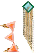 Fendi Gold-tone Stone Earrings - Orange