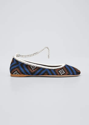 Miu Miu Crochet Ankle-Bracelet Ballerina Flats