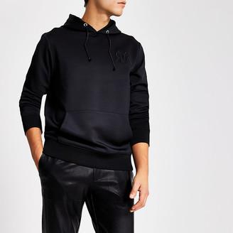 River Island Smart Western black RVR slim fit hoodie