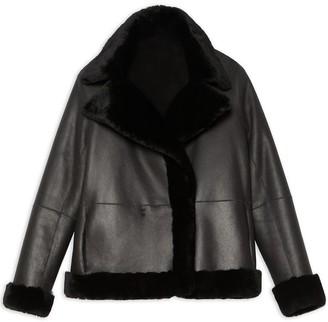Theory Clairene Reversible Moto Jacket In Shearling