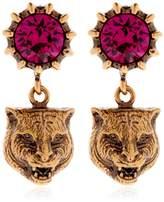 Gucci Feline Head & Crystal Earrings