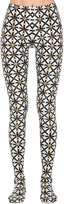 Versace Printed Stretch Jersey Leggings W/ Feet