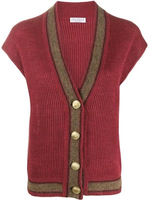 Brunello Cucinelli Ribbed Short-Sleeved Cardigan
