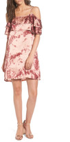 Mimichica Mimi Chica Print Off the Shoulder Satin Dress