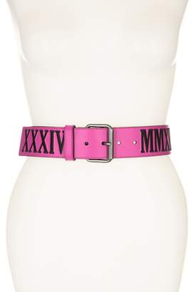 Moschino Embroidered Logo Leather Belt