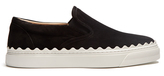 Chloé Kyle scallop-edged suede slip-on trainers
