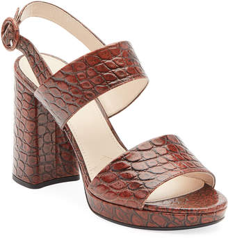 Prada Croco Platform Two-Band Sandals