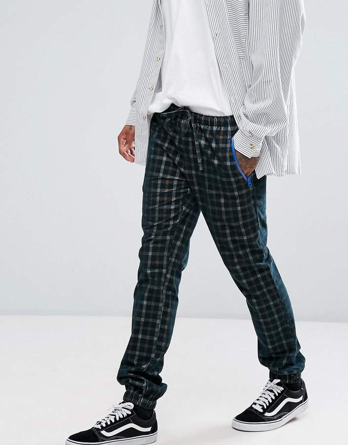 Asos Slim Joggers With Check Detail In Khaki