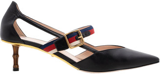 Gucci Black Sylvie Web Strap Bamboo Leather Heels Size 39