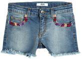 MSGM Embroidered Stretch Denim Shorts