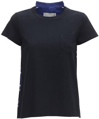 Sacai Cotton Blend T-shirt W/ Pleats