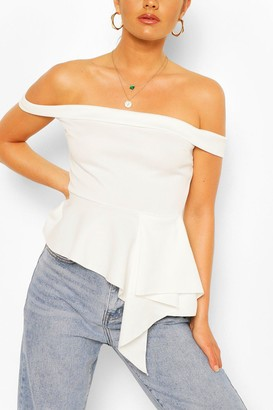 boohoo Off The Shoulder Asymetric Peplum Top