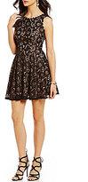 Jodi Kristopher Two-Tone Lace A-line Dress