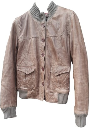 Le Sentier Beige Leather Leather Jacket for Women