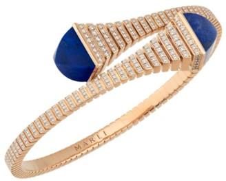 Cleo By Marli Rev 18K Rose Gold, Diamond & Lapis Bangle Bracelet