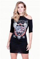 Select Fashion Fashion Womens Black One Shoulder Band Tee Dress - size 6