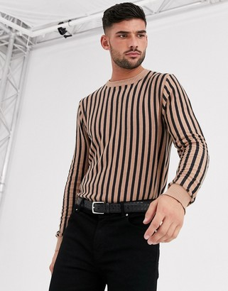 Aray muscle fit vertical striped crew neck jumper-Brown
