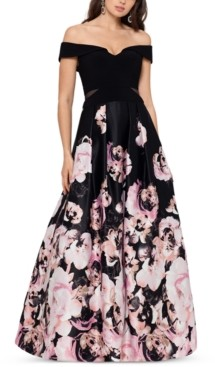 Xscape Evenings Petite Off-The-Shoulder Floral-Print Ball Gown