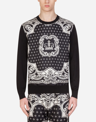 Dolce & Gabbana Crew Neck Wool And Silk Sweater In Bandana Print