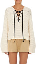 Ulla Johnson Women's Marland Cotton Lace-Up Sweater
