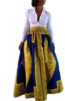 Cfanny Women's African Print Casual A-Line Maxi Flared Skirt
