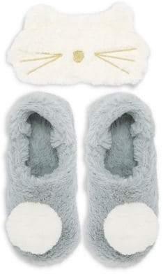 Couture Pj Women's Kitten Eye Mask & Faux-Fur Slipper Set