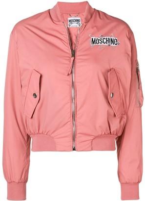 Moschino zipped logo bomber jacket