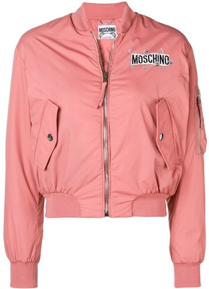 Moschino Zipped Logo Bomber Jacket