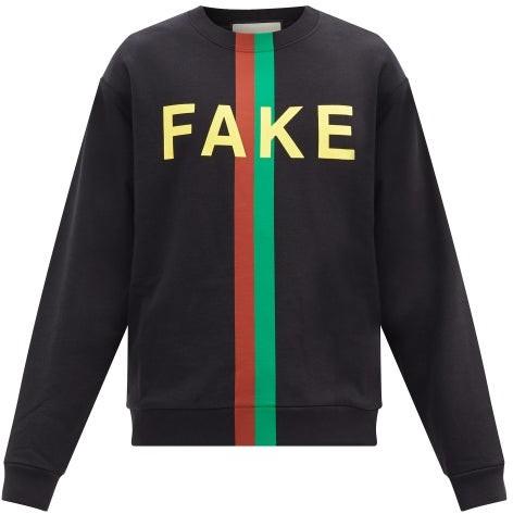 Gucci Not Fake Printed Cotton-jersey Sweatshirt - Black