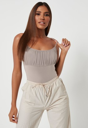 Missguided Petite Mocha Seamless Ruched Bust Bodysuit