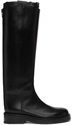 Ann Demeulemeester Black Buckle Riding Boots