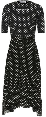 Balenciaga Crepe polka-dot midi dress
